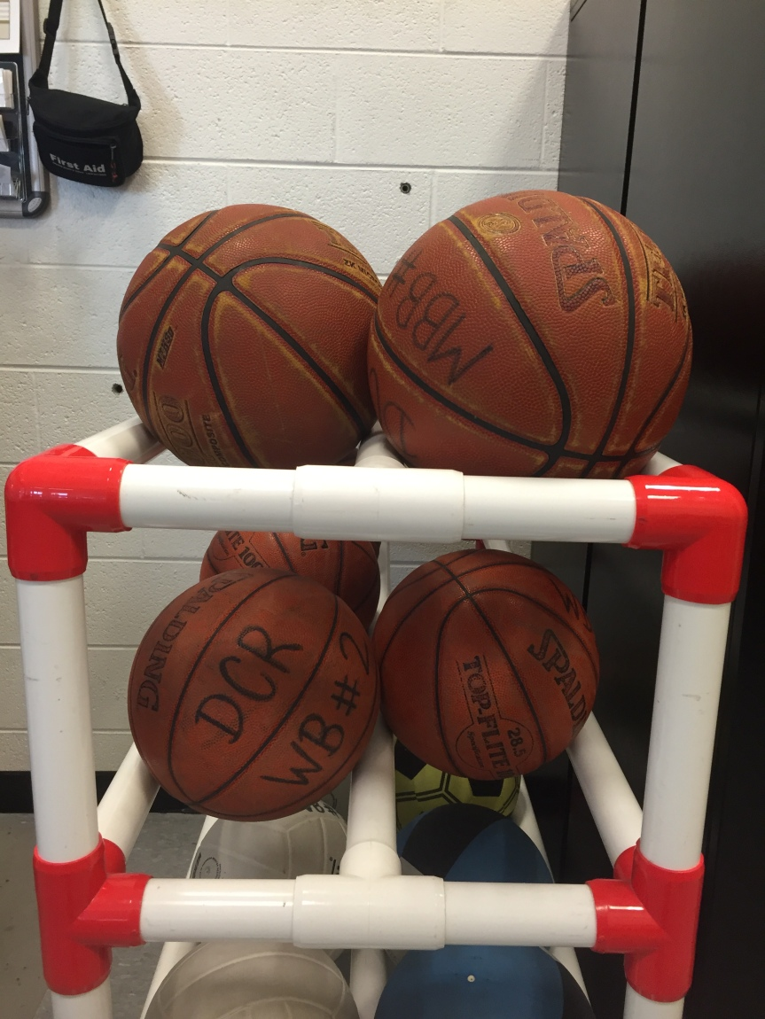 Basketballs on a shelf in the Campus Recreation Center